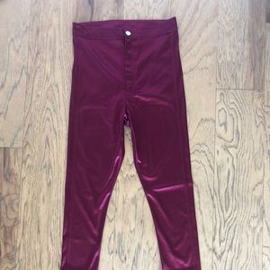 High waisted wine red hot pants.